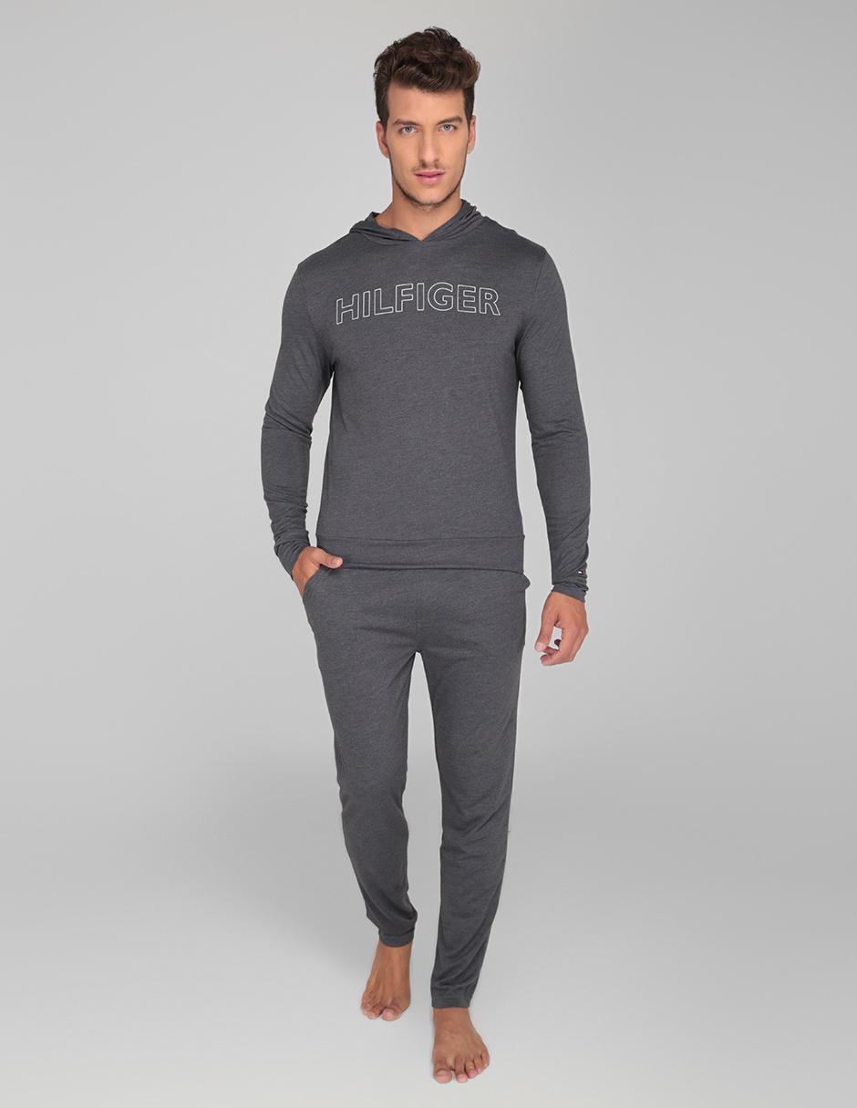varios tipos de últimos lanzamientos Tener cuidado de Sudadera pijama Tommy Hilfiger gris jaspeada con capucha